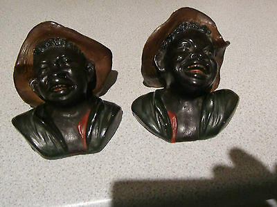 Matching pair of Bretby wallpockets  plantation workers circa 1891 pattern 1491