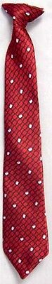 New  1  Pc Boys Printed Neck Tie With Clip - Red Color  # (ENTie-Red)