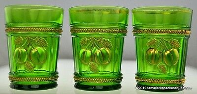 Lot of (3) EAPG Northwood Peach & Cable Emerald Green Tumblers 8oz Gilded Cherry