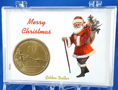 Set of 4 Native American Dollar Uncirculated Coins in Americana Christmas Cases