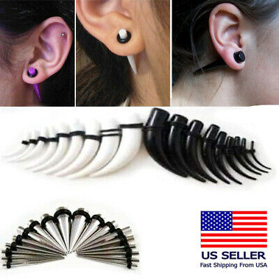 """Acrylic/Metal Taper Stretch Extender Ear Plug Gauge O Ring Color Curved 14G-1/2"""""""