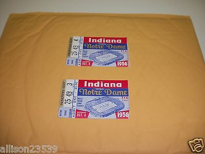 Notre Dame Vs. Indiana Tickets 1956 - Qty 2