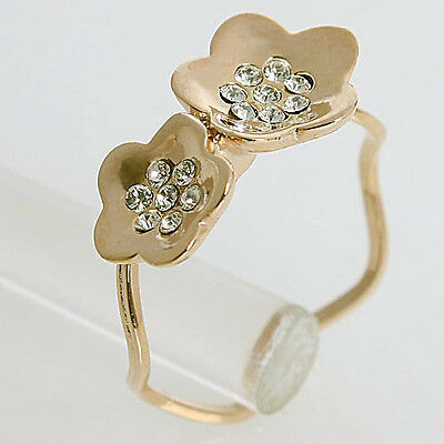 New Arrival 0.5CT Clear Crystal 18K GP Flower Ring 115123 Free Shipping