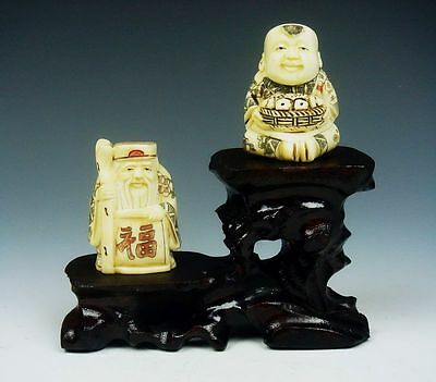 *Ship From U.S* Wood Crafted 2 Tiers High Low Stand For Netsuke, Snuff Bottles