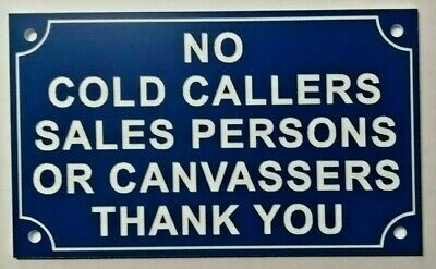 No Cold Callers Canvassers Sales Engraved Door Sign Plaque