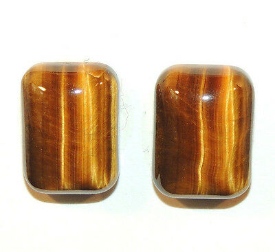 Tiger's Eye 13x18mm with 6-7mm dome Cabochons Set of 2 From Africa (2966)