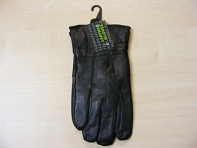 Mens Large / Extra Large Black Luxury Soft Genuine Leather Gloves L / Xl  - New