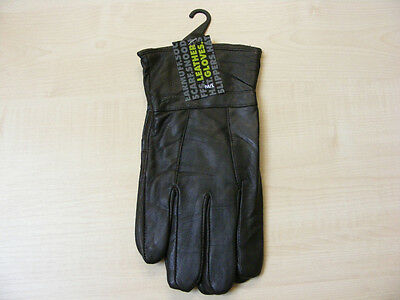 Mens Medium / Large Brown Luxury Soft Genuine Leather Gloves M / L  - New