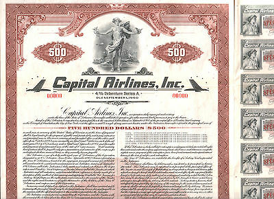 SUPERB 1949 CAPITAL AIRLINES (aka PENN CENTRAL AIR) BOND w ALL COUPS! NOW UNITED