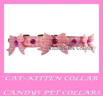 """* Handmade * Pink Gingham With Crystals & Bows  Cat Kitten Collar 7.5"""" - 9"""""""
