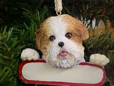Shih Tzu ~ Tan  & White Puppy Cut ~   Ornament  # 87