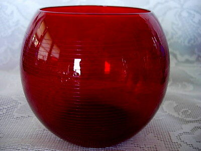 Impressive Ruby Red Glass/Crystal Cut to Clear Lines Votive/Tealight/Rose Bowl