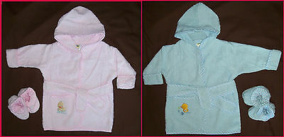 BABY 0 - 9 Mths - Cotton Terry Towling BATH ROBE DRESSING GOWN New - Boy or Girl