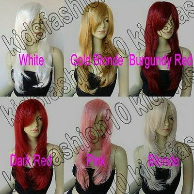 26in. Long Free Shipping Razor Cut Face Framing Natural Cosplay Wig All Color 47
