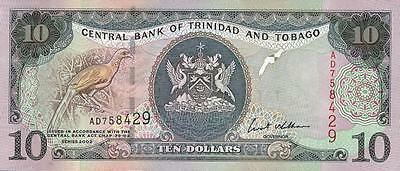 Trinidad & Tobago 10 Dollars 2002 Pick 43