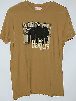 The Beatles distressed olive green T Shirt tee vintage style