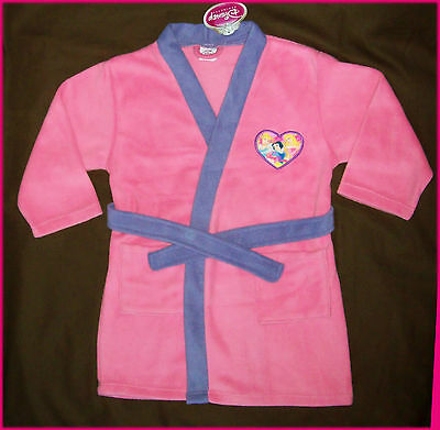 DISNEY PRINCESS DRESSING GOWN / PINK Polar Fleece BATH ROBE - Sz 4 6 or 8 - NEW