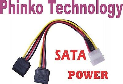 NEW 4 Pin IDE Molex to 2 SATA Power Cable Splitter Adapter