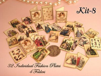 Miniature 1:12 Scale pretty Victorian era Fashion Plates/Illustrations- Kit -8