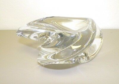 St Louis France Clear Art Glass Crystal Bowl Table Piece Heavy