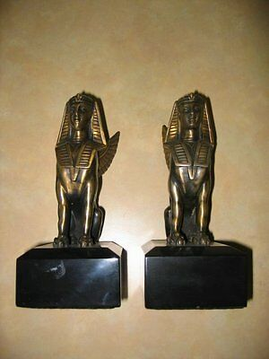 Egyptian Style Bronze Sphinx Bookend Sculpture Figurines