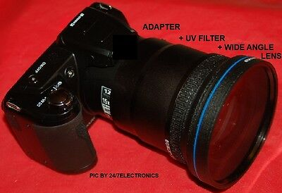 0.43x WIDE ANGLE LENS 72mm+UV+ADAPTER for FUJI S4000 S3200 S4080 S3280 S3400 HD