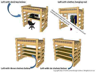 Single Twin Loft Bed, Bunk Bed Plans for College Dorm or Children