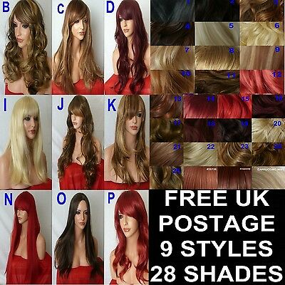 Long Curly Straight Wavy Ladies Costume fashion Plum Red Brown Black Blonde Wig
