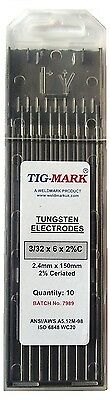 Pk 10 3.2mm x 150mm 2% CERIATED GREY TIPPED TUNGSTEN ELECTRODES