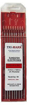 Pk 10 2.4mm x 150mm 2% THORIATED RED TIPPED TUNGSTEN ELECTRODES