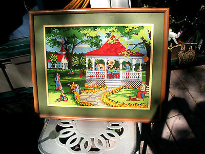 VINTAGE  FRAMED   NEEDLEPOINT  EARLY  AMERICAN SCENE w GAZEBO AND MUSICIANS