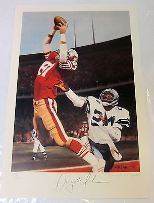 """Dwight Clark Autographed Lithograph """"the Catch"""" 49Ers  By Daniel M.smith"""