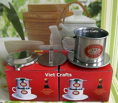 Lot of 2 Vietnamese Coffee Maker Drip Filter - Stainless Steel - Size 7