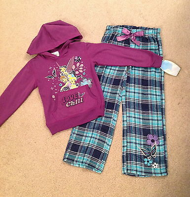 Girls TinkerBell Hoodie Shirt and Flannel Pajama Pants Set Size 5 NWT Retail $38