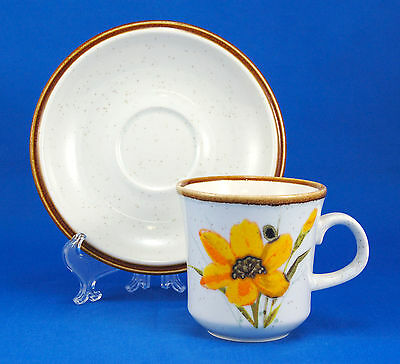 Mikasa Natural Beauty FULL BLOOM C9062 Flat Cup and Saucer Set 3.25 in. Brown
