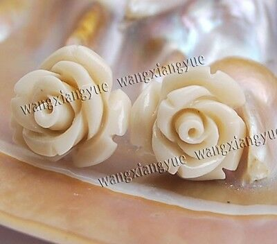 12mm White Sea Coral Hand Carved Flower Earrings Silver Stud AAA