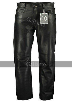Black Classic Fitted (biker motorcycle or Casual) Men's Leather Pants Trousers