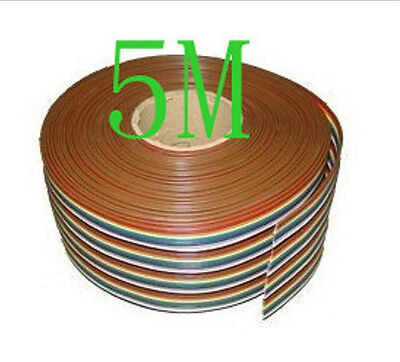 New 5M 40 WAY Flat Color Rainbow Ribbon Cable Wire Rainbow Cable