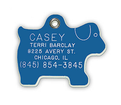 Large Dog Shaped Pet Tag - Thick Acrylic Plastic,Personalised, Deep Engraved.