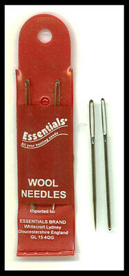 Pack of 2 essentials wool / knitters needle - for sewing up -  large eye