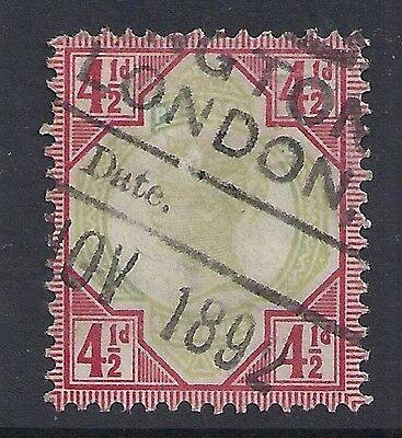 1892 GB SG206 QV 4½d GREEN & CARMINE FINE USED JUBILEE ISSUE