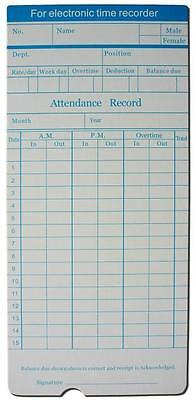 50X Monthly Time Clock Cards For Attendance Record(100X available too)