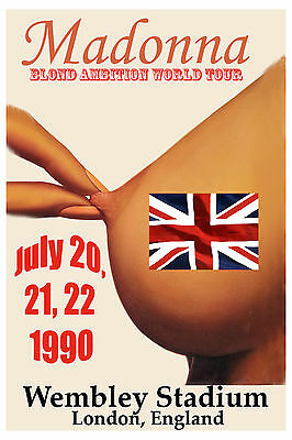 OUTRAGEOUS!.: MADONNA  * Blonde Ambition Tour  * at Wembley Stadium Poster 1990