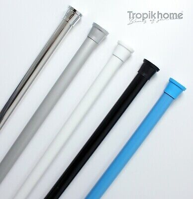 New Extendable Spring Loaded Shower Curtain Rod/Rail 75-120cm, Different Colours