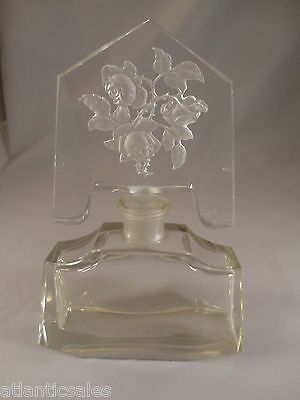 Crystal Perfume bottle with Rose Intaglio  circa 1930s- 1940s  Antique Exc Cond.