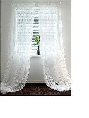3 Pairs (6 Pcs)IKEA LILL White Long Sheer Netting Curtains Blind 280 x 250cm-NEW