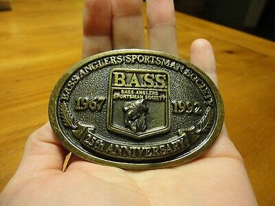 Vintage Brass Bass Anglers Sportsman Society 1992 Belt Buckle 25th Anniversary