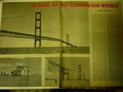 Dutch 1958 magazine clipping 5 p: Mackinac Bridge