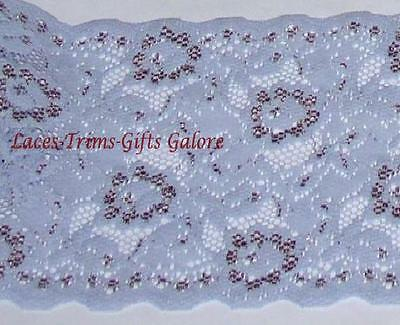 """3 Yds Blue Lace Trim Stretch 5-1/2"""" Floral Galloon N35V Added Items Ship FREE"""