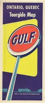 1953 GULF OIL COMPANY Road Map ONTARIO QUEBEC Montreal Canada Lake Superior